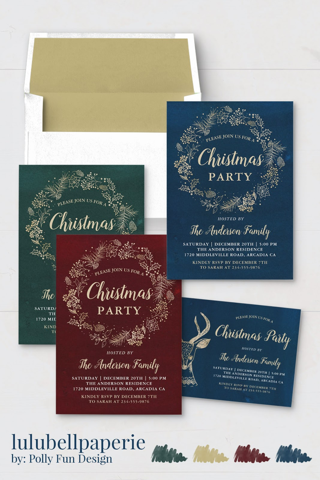 Burgundy, Navy Blue, Gold, and Green Elegant Christmas Invitation Stationery Suite - Custom Holiday Party Invite Assortment