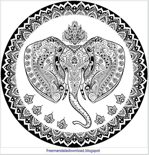 elefanten design mandala bedruckbar  free mandala