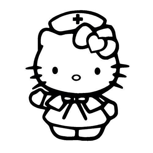 Tranh tô màu mèo hello kitty làm bác sỹ