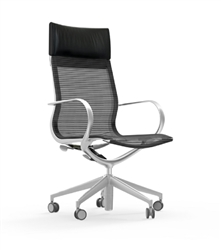Mesh Office Chair with Leather Headrest