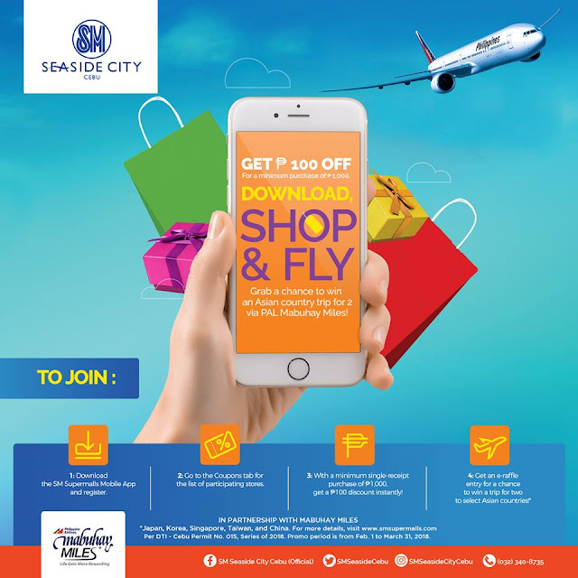 SM Supermalls Mobile App, SM Seaside City Cebu, Philippine Airlines, PAL Mabuhay Miles