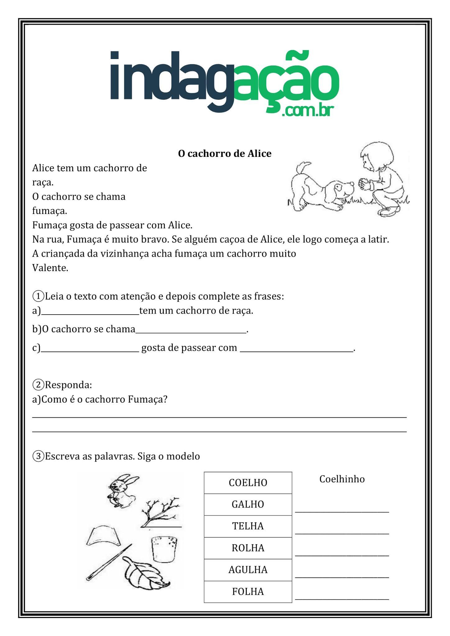 Atividade Português 2º Ano: Grau do Substantivo, Aumentativo e Diminutivo, Ortografia: LH, AS, ES, IS, OS e US - Ensino Fundamental