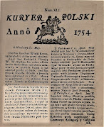 """""""Kuryer Polski"""" donoszący o rozwodzie Teofili i Aleksandra Potulickiego (rok 1754)"""