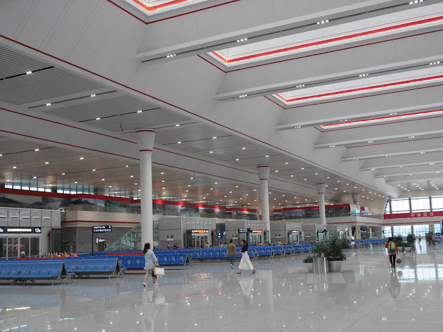quiet departure hall at the Guiyang North Railway Station