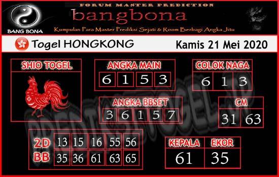 Prediksi HK Kamis 21 Mei 2020 - Bang Bona