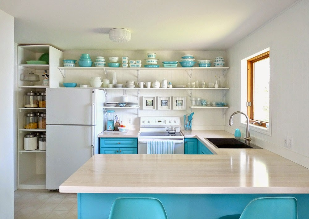 Turquoise Pyrex Collection in Vintage Aqua Kitchen