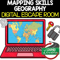 Mapping Skills Digital Escape Room MAPPING SKILLS VOCABULARY MAPPING THE EARTH LATITUDE AND LONGITUDE TYPES OF MAPS MAP PROJECTIONS