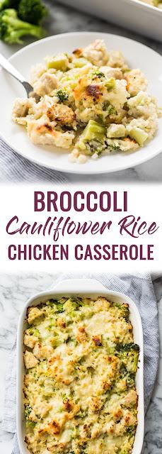 Cheesy Broccoli Cauliflower Rice Chicken Casserole Recipe