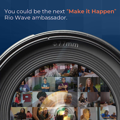 Poster featuring a camera lens that has a collage of student images.  Text: You could be the next Make it Happen Rio Wave ambassador