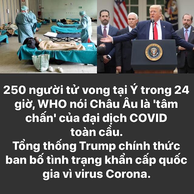 """250 người tử vong tại Ý trong 24h, Who nói Châu Âu là """"tâm chấn"""" của đại dịch Covid-19 toàn cầu"""