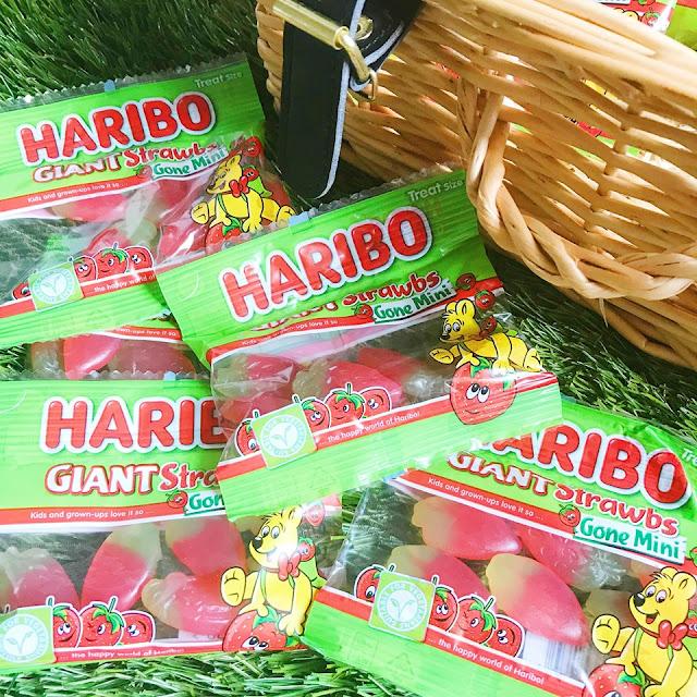 Haribo mini strawbs flatlay