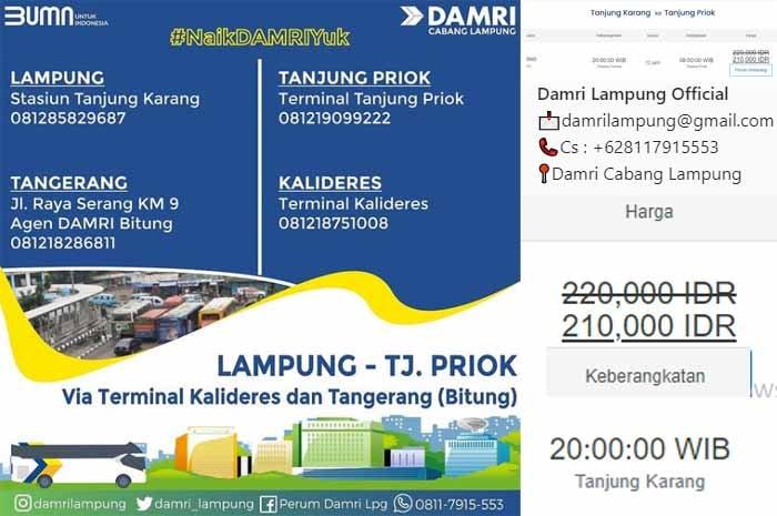 Jadwal dan Harga Tiket Damri Lampung Tanjung Priok