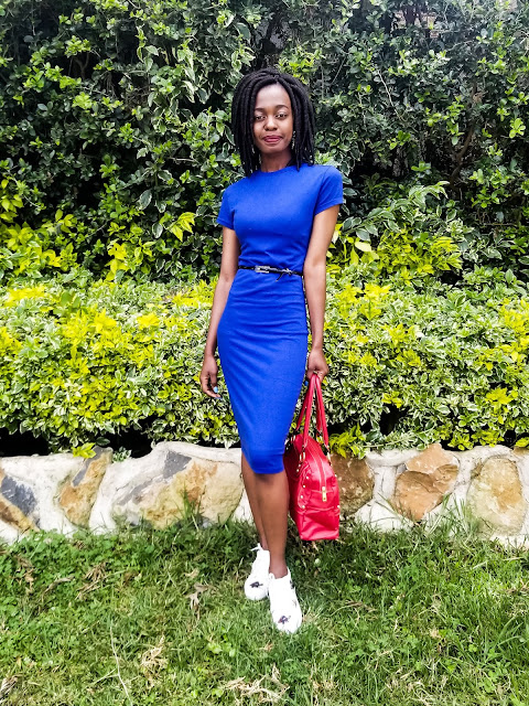 A Blue Bodycon Dress With Sneakers Outfit