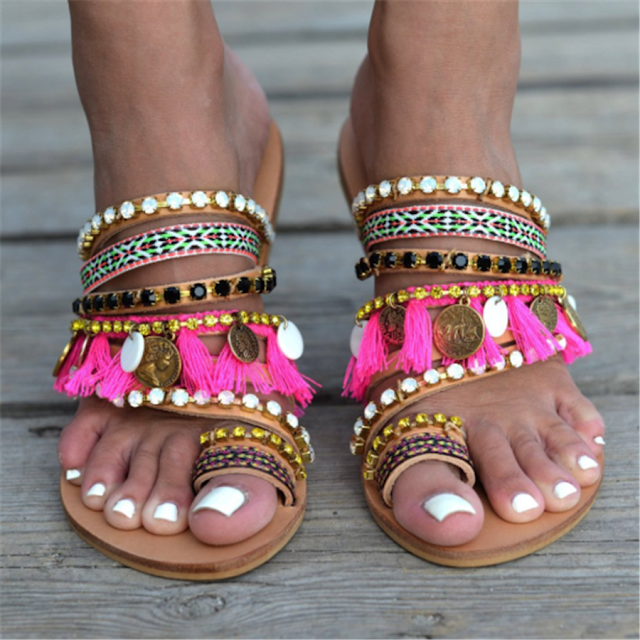 Vintage Ethnic Style Tassel Flat Slippers