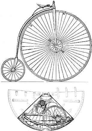 Sepeda lipat dengan disain Penny-farthing oleh William Grout