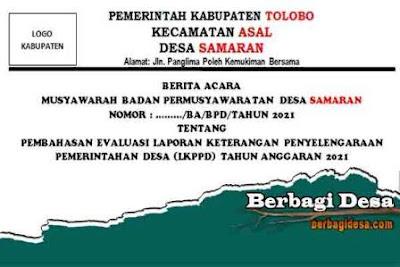 Download Berita Acara Tentang Evaluasi Laporan Keterangan Penyelenggaraan Pemerintahan Desa (LKPPD) oleh BPD