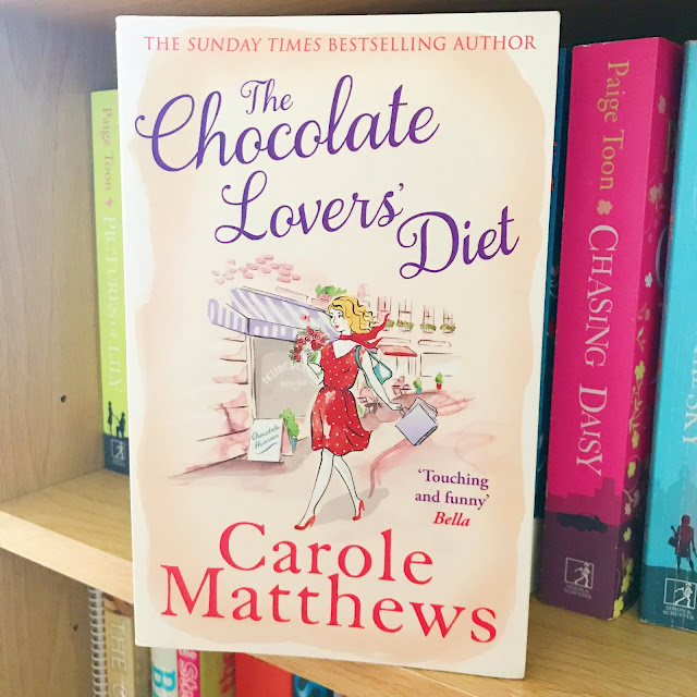 The Chocolate Lovers' Diet by Carole Matthews stood up on bookshelf