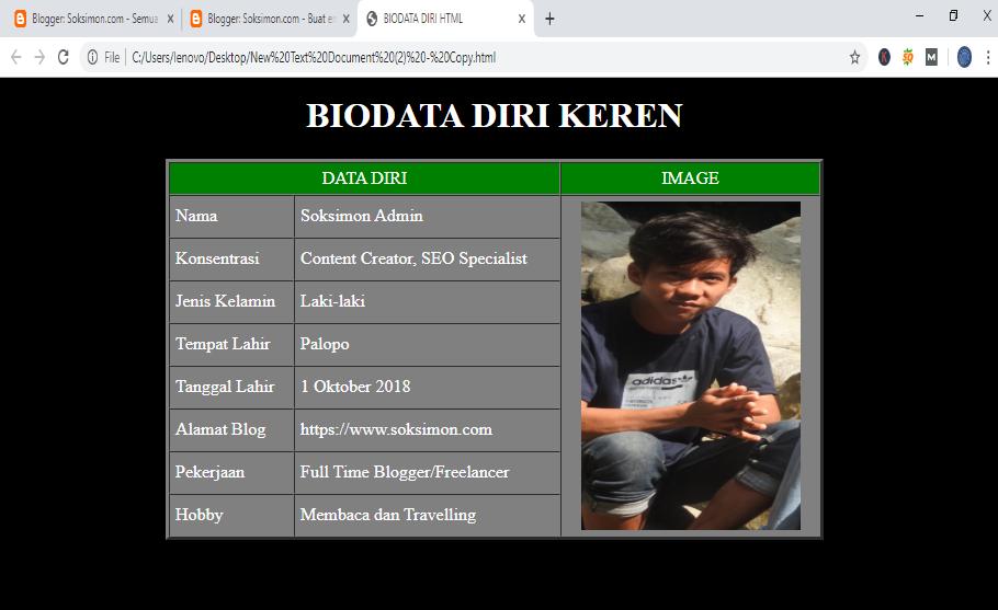 cara membuat biodata html sederhana dan