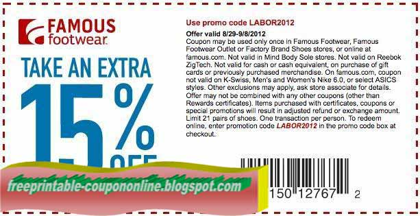 Famous footwear online coupons