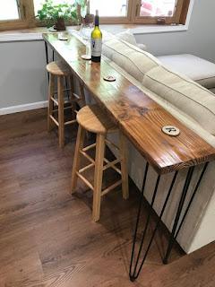 Reclaimed Wood Bar Table with Hairpin Legs Custom