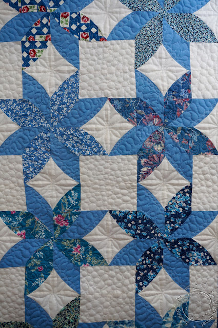 blue patchwork quilt