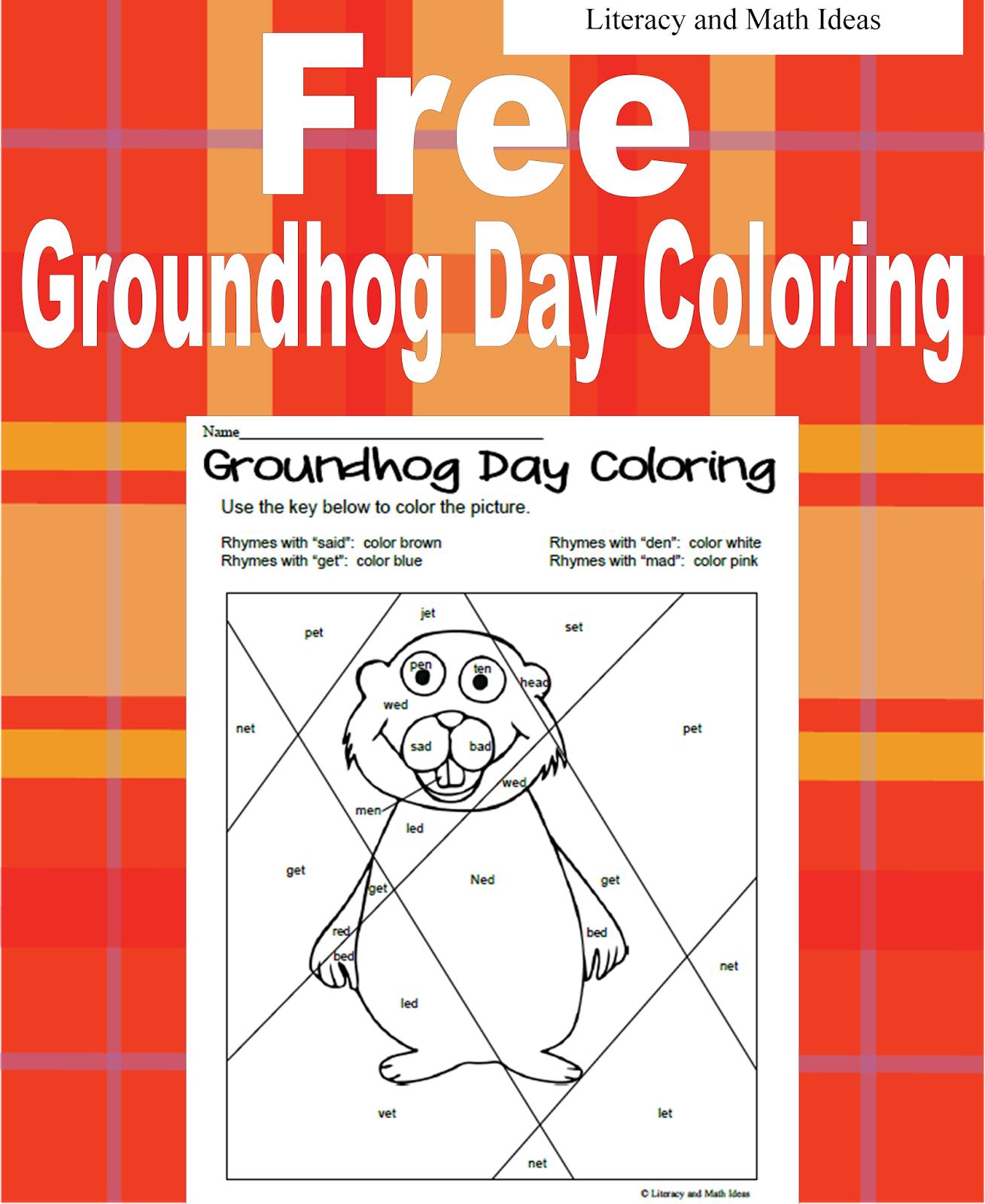 Literacy Amp Math Ideas Groundhog Day Coloring Sheet