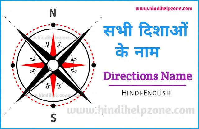 Dishaon Ke Naam - Directions Name In Hindi-English - (दिशाओं के नाम)