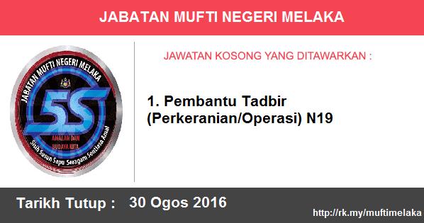Jawatan Kosong di Jabatan Mufti Negeri Melaka