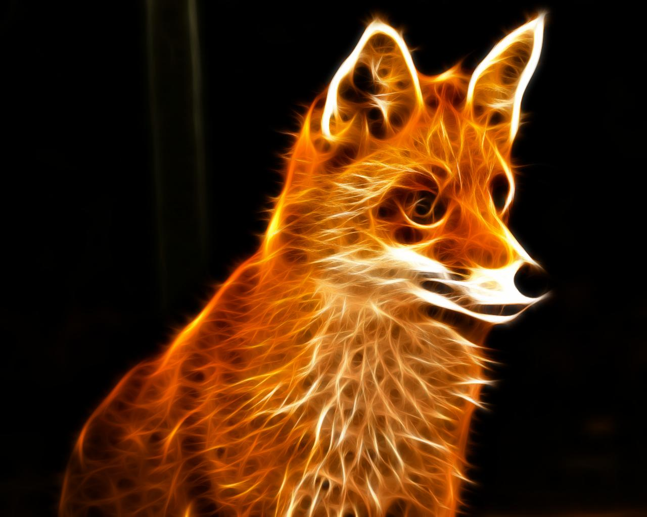 Nice animals fractal all about photo - Fox desktop background ...