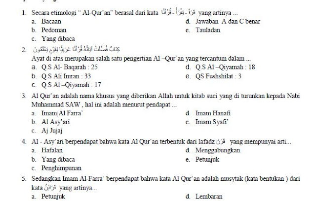 Soal UAS Al-Qur'an Hadits Kelas 10 Semester 1 K13 dan Jawabannya