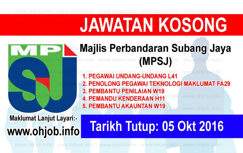 Jawatan Kerja Kosong Majlis Perbandaran Subang Jaya (MPSJ) logo www.ohjob.info oktober 2016