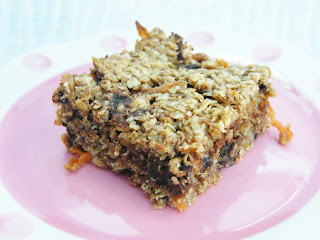 Close up of Carrot, Banana and Chocolate Chip Flapjacks