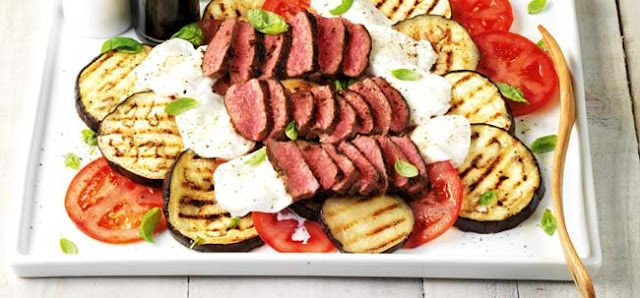 Grilled Steak Salad with Tomatoes & Eggplant , Weight Watchers Recipe , 9 Smart Points