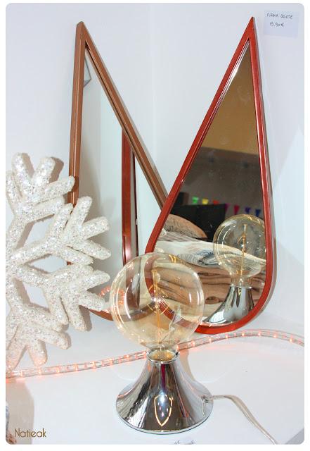 miroir goutte et pied de lampe  de Becquet , créateur en linge de maison