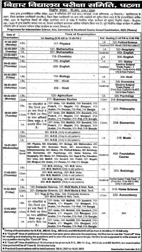 Bihar Board 12th Date Sheet 2021
