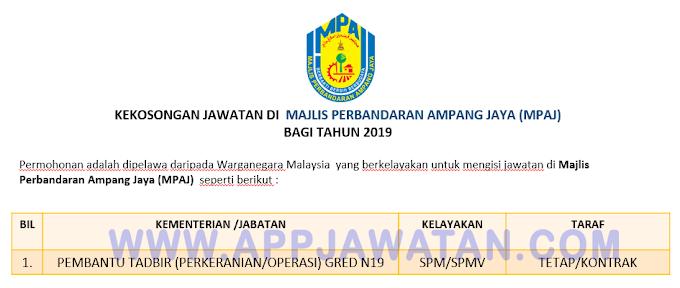 Jawatan Kosong Terkini di Majlis Perbandaran Ampang Jaya (MPAJ).