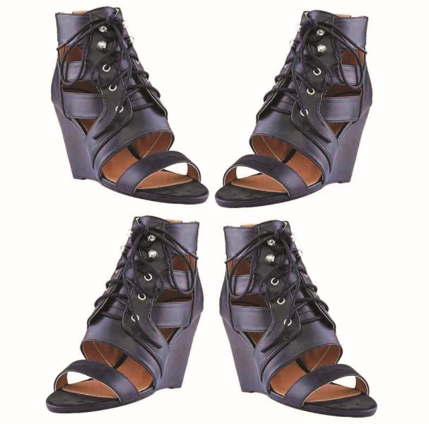 Women's Lace Up Shoes - Open Wedge Ankle Sandals