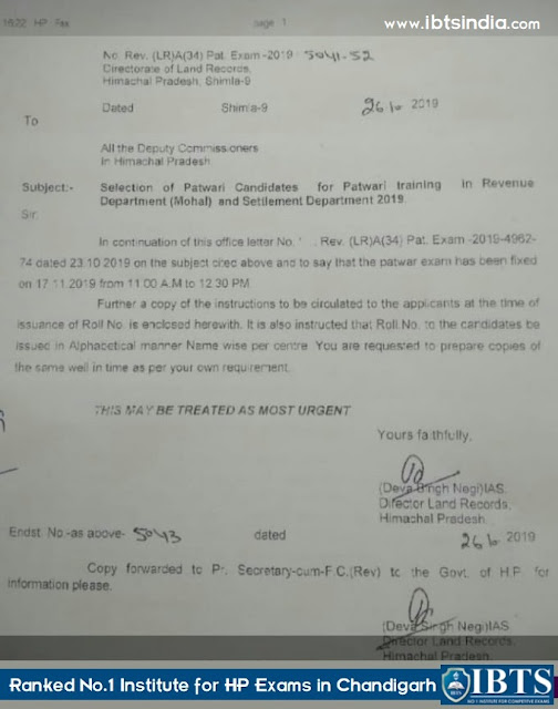 HP Patwari Exam Date & Admit Card 2019 Notification Out : Check Here Now