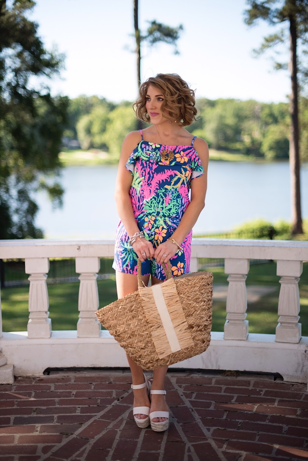 Lilly Pulitzer Klea Off The Shoulder Romper - Click through to see more on Something Delightful Blog!