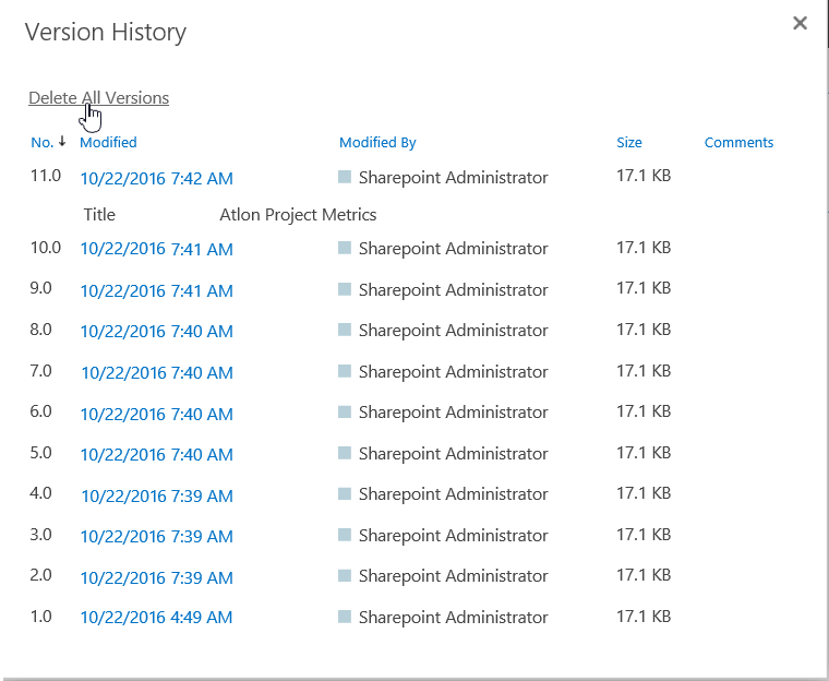 sharepoint online delete versions