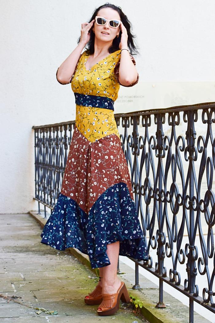 Patchworkowa sukienka uszyta z wykroju Burda 2/2016 model 101