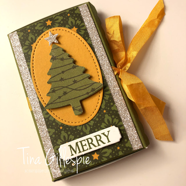 scissorspapercard, Stampin' Up!, Art With Heart, Gift Box, Merry Christmas To All Bundle, Night Before Christmas DSP, Scalloped Note Cards, Pine Tree Punch