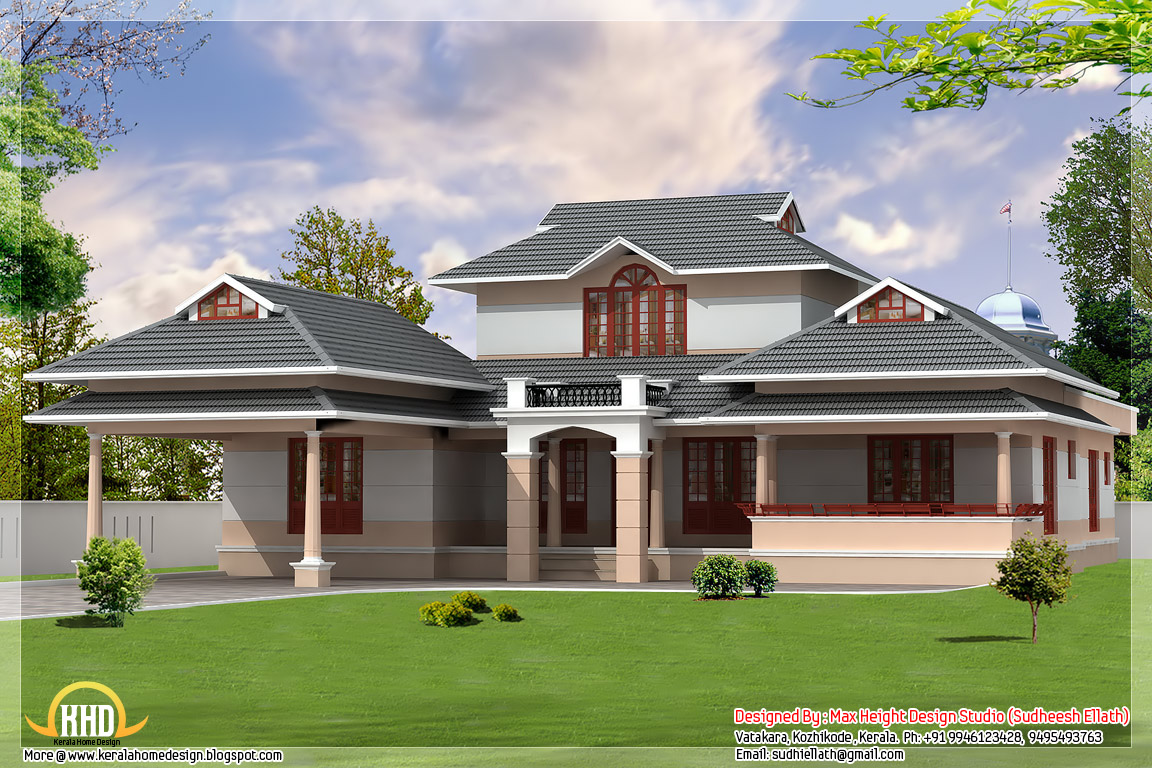3 kerala style dream home elevations kerala home design for Single floor house plans kerala style