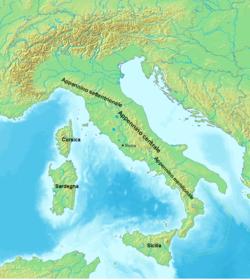 gli Appennini in Italia, cartina geografica