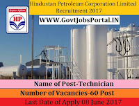 Hindustan Petroleum Corporation Limited Recruitment 2017– 60 Technician