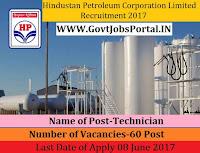 Hindustan Petroleum Corporation Limited Recruitment 2017– 60 Technician