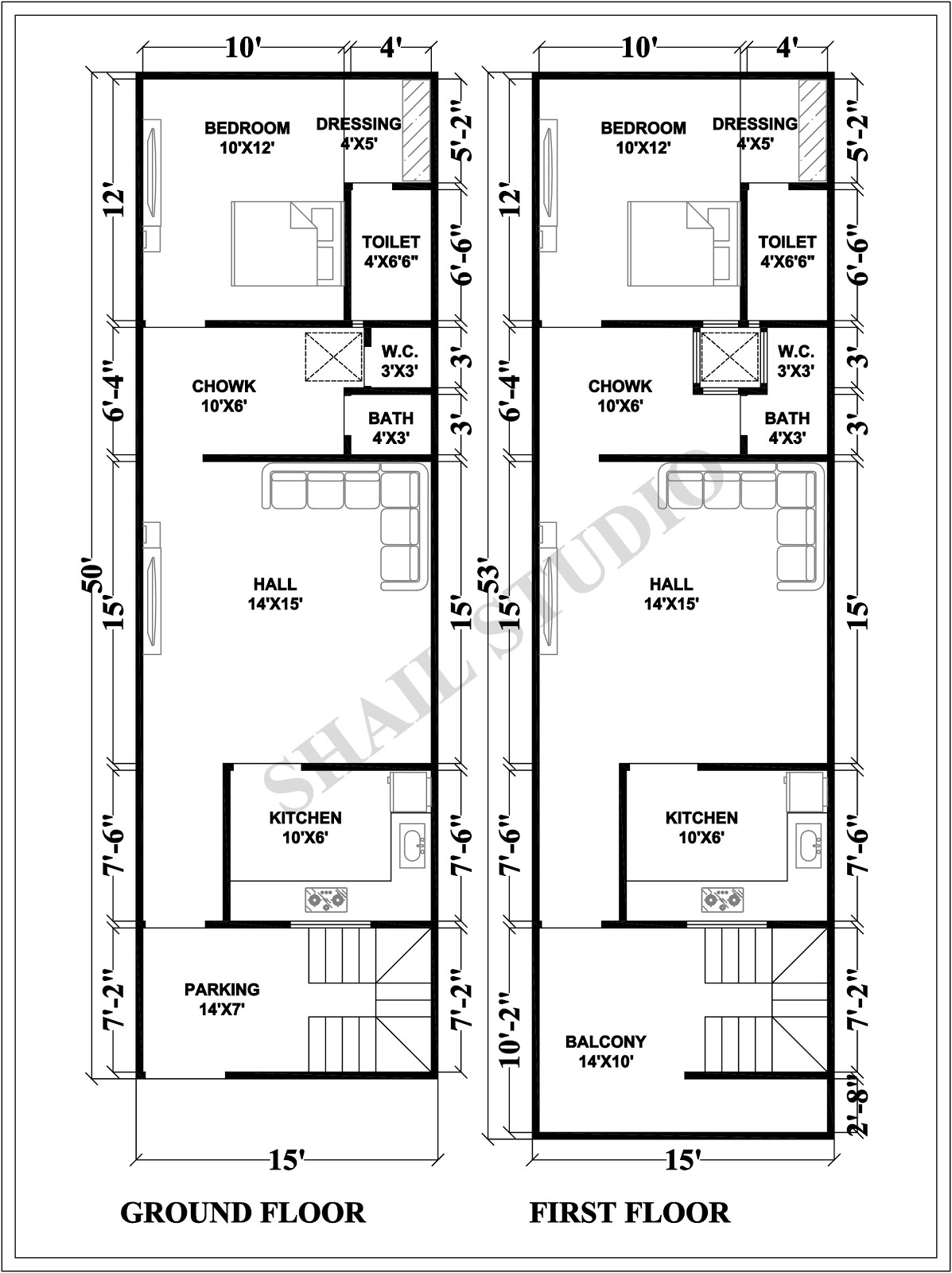 15X50 House plan with 3d elevation by shail studio