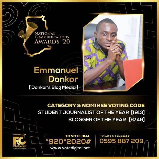 Yaay!! Emmanuel Donkor nominated for the 2020 National Communication Awards