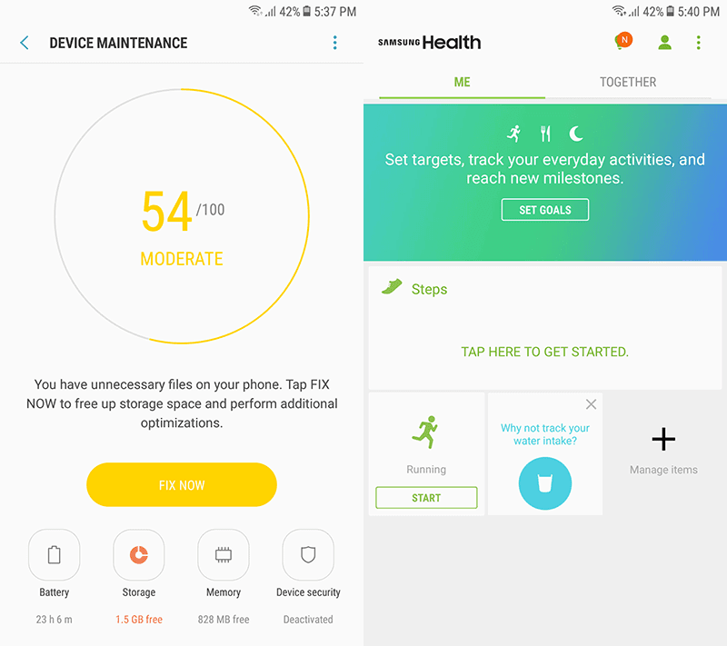 Device maintenance and Samsung Health app