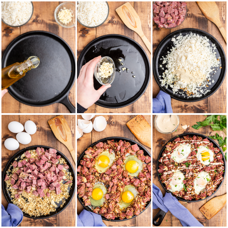 Six photos of the process of making Keto Corned Beef and Hash.